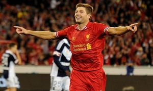 Gerrard celebrates his goal as he impresses in Australia