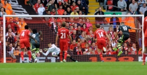 Mignolet saves a penalty from Stoke City's Walters