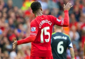Sturridge celebrates breaking the deadlock for Liverpool
