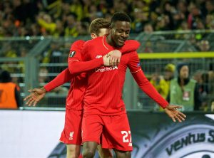 Origi celebrates against Dortmund