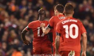 Sakho celebrates leveling the game on the night