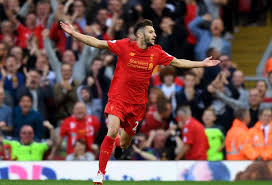Lallana celebrates his stunner vs Leicester City