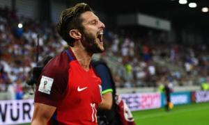 The 28 year old celebrates scoring his first senior England goal